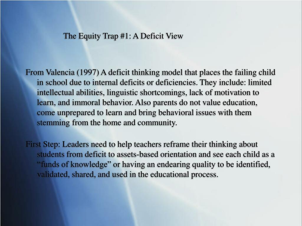 The Equity Trap #1: A Deficit View
