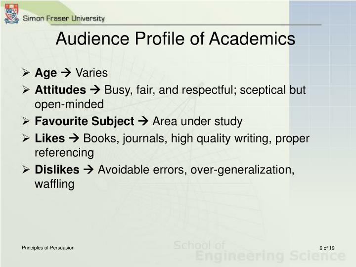 Audience Profile of Academics