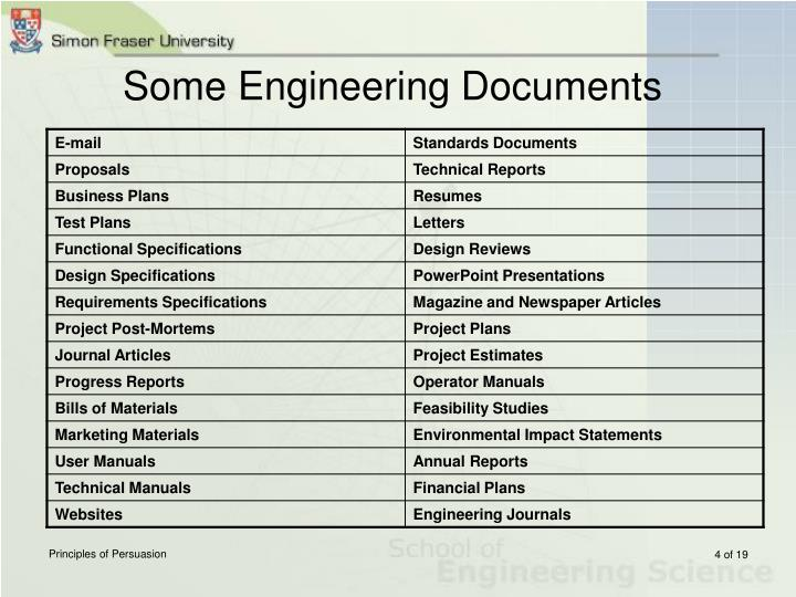 Some Engineering Documents