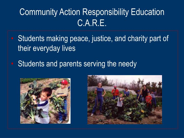 Community action responsibility education c a r e