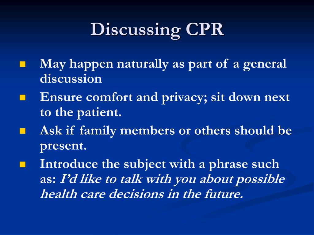 Discussing CPR