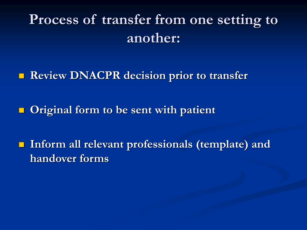 Process of transfer from one setting to another: