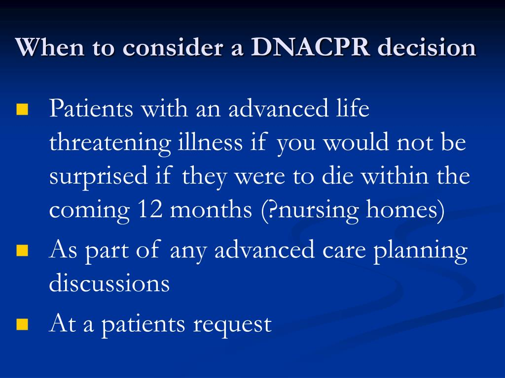 When to consider a DNACPR decision