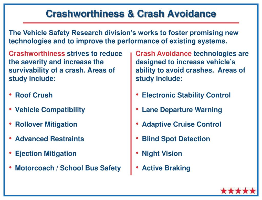 Crashworthiness & Crash Avoidance