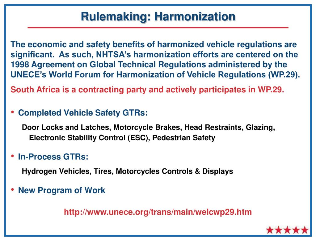 Rulemaking: Harmonization