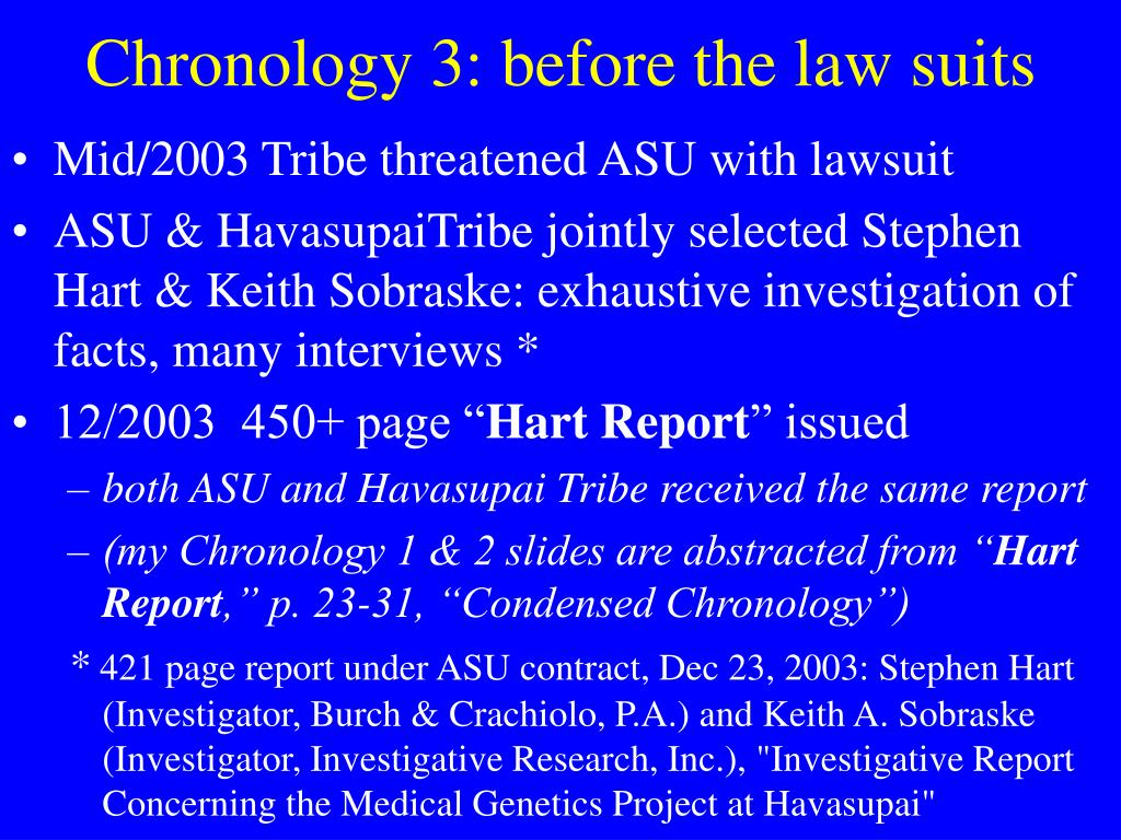 Chronology 3: before the law suits