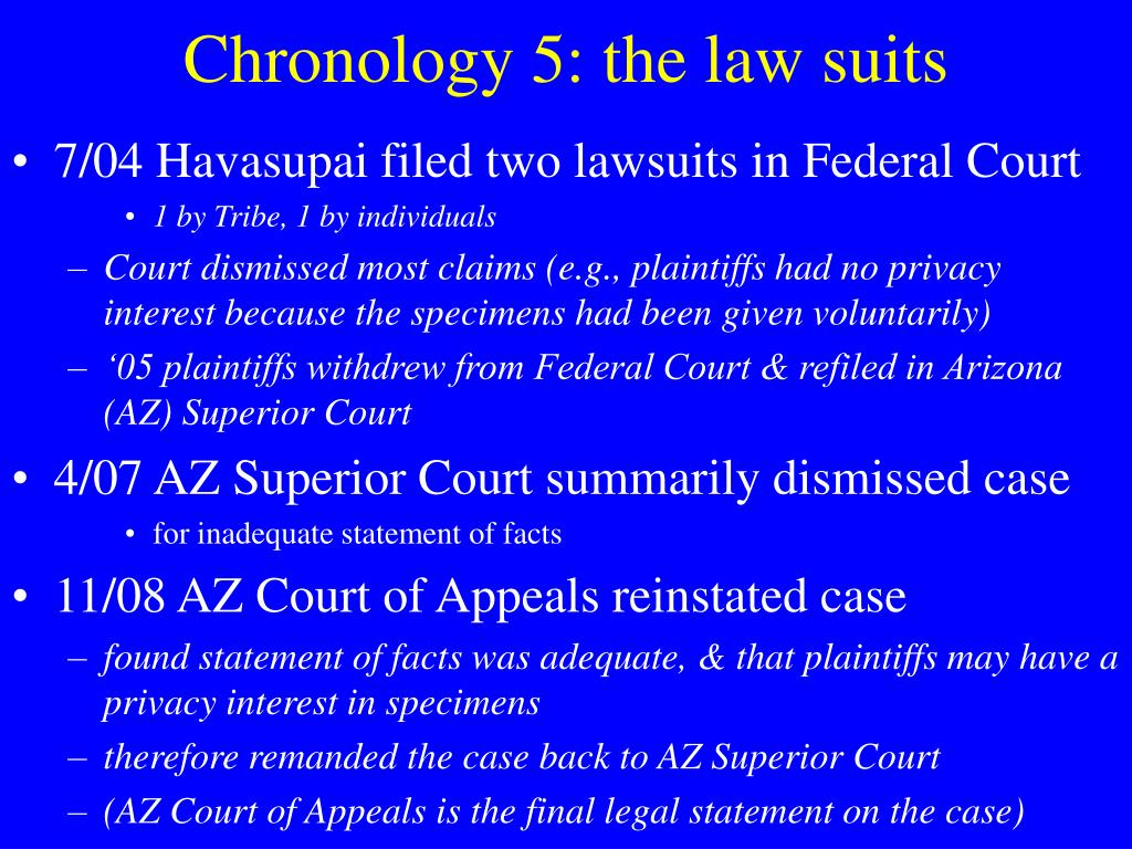 Chronology 5: the law suits