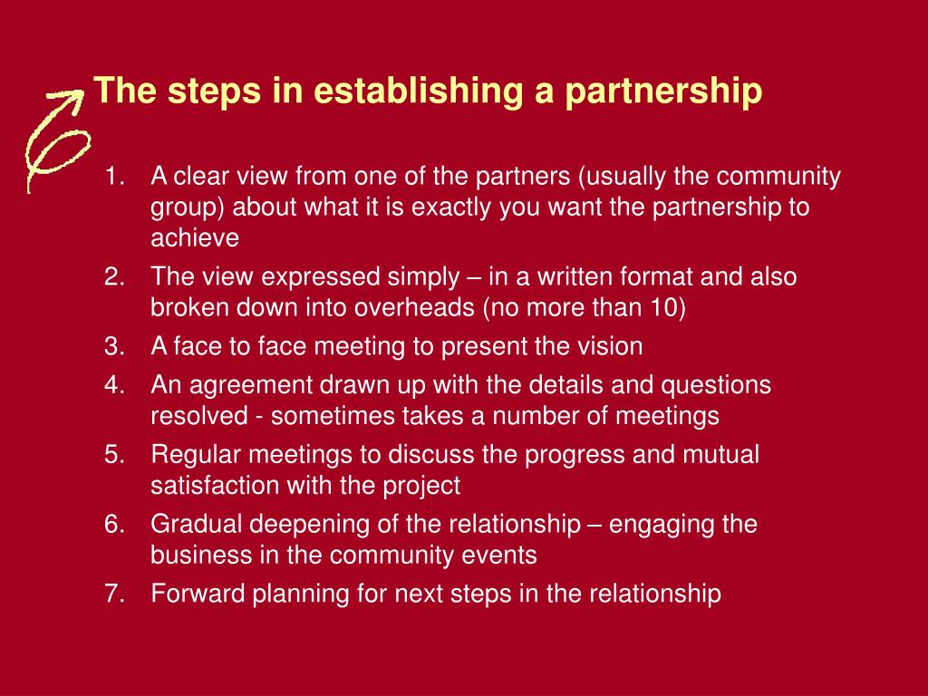 The steps in establishing a partnership