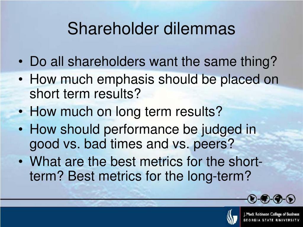 Shareholder dilemmas