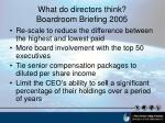 what do directors think boardroom briefing 2005