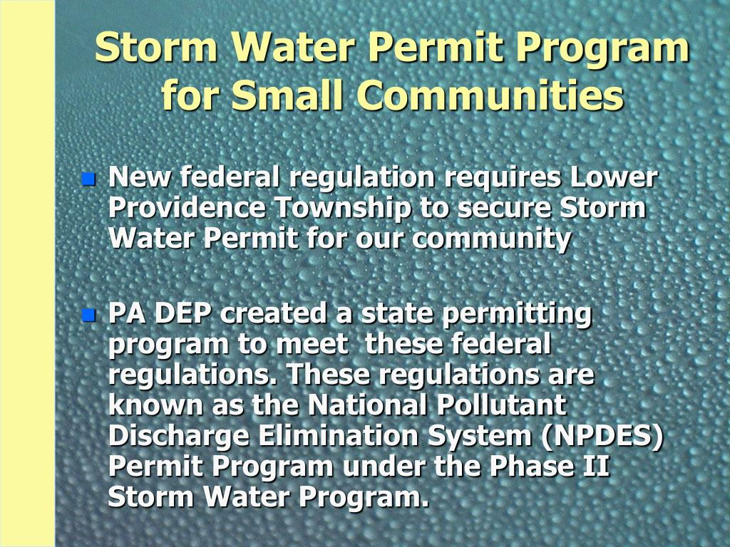 Storm Water Permit Program for Small Communities