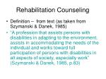 rehabilitation counseling