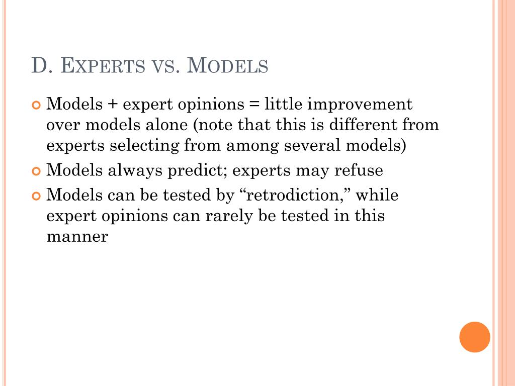 D. Experts vs. Models