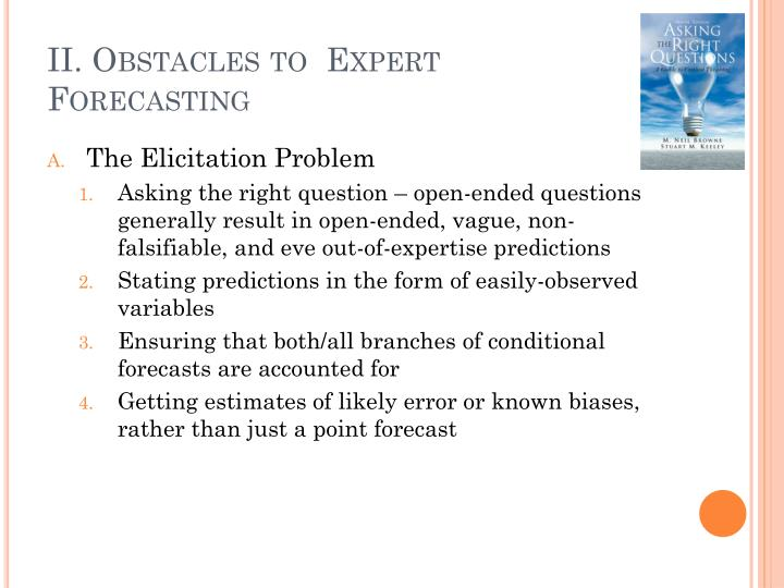 Ii obstacles to expert forecasting
