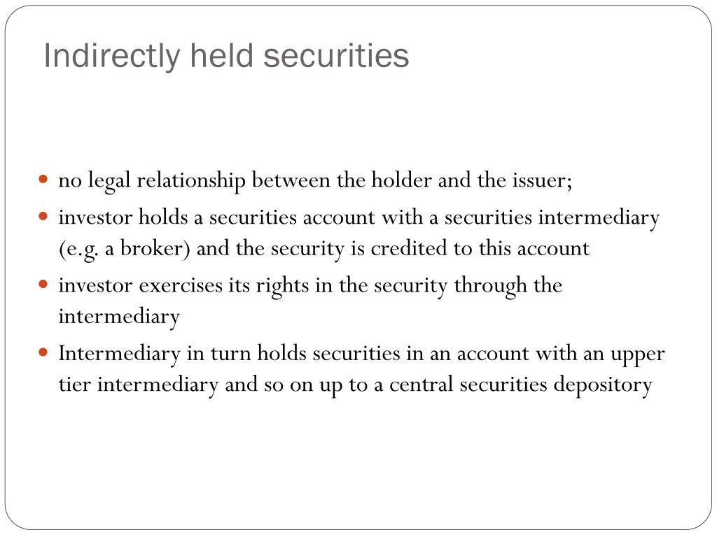 Indirectly held securities
