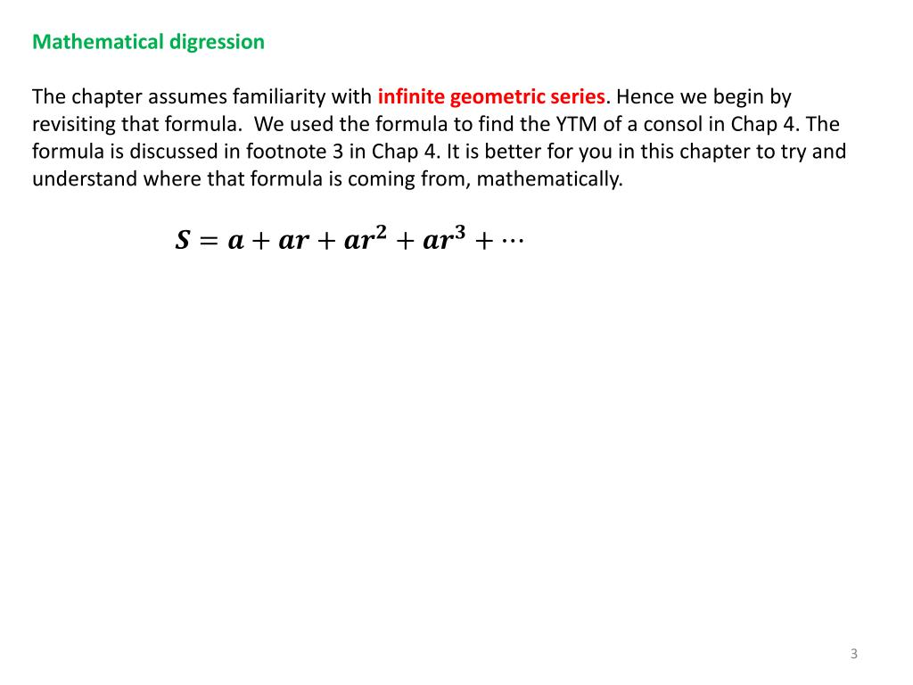 Mathematical digression