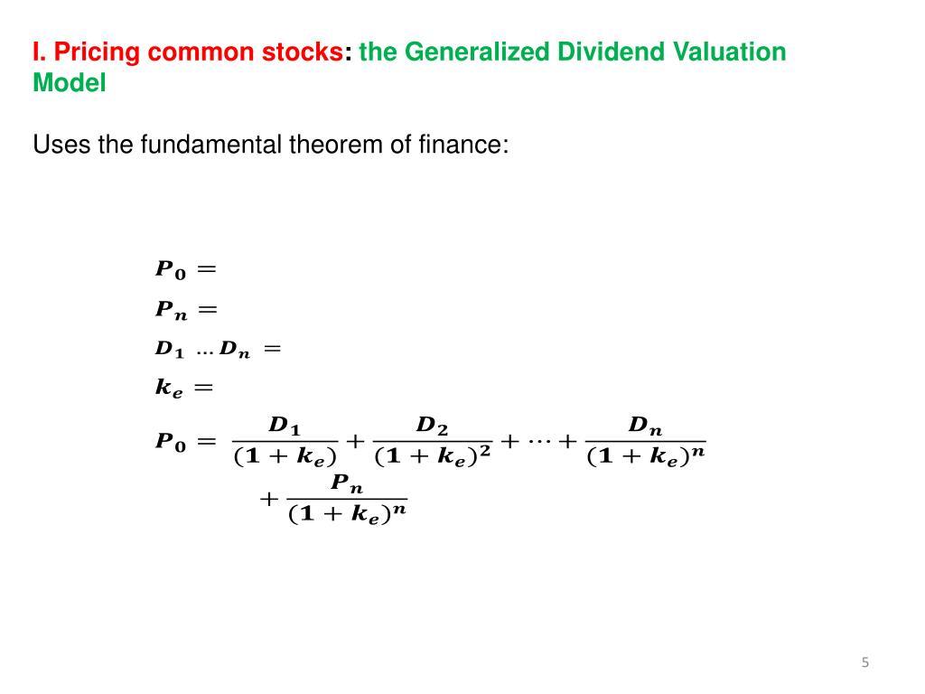 I. Pricing common stocks