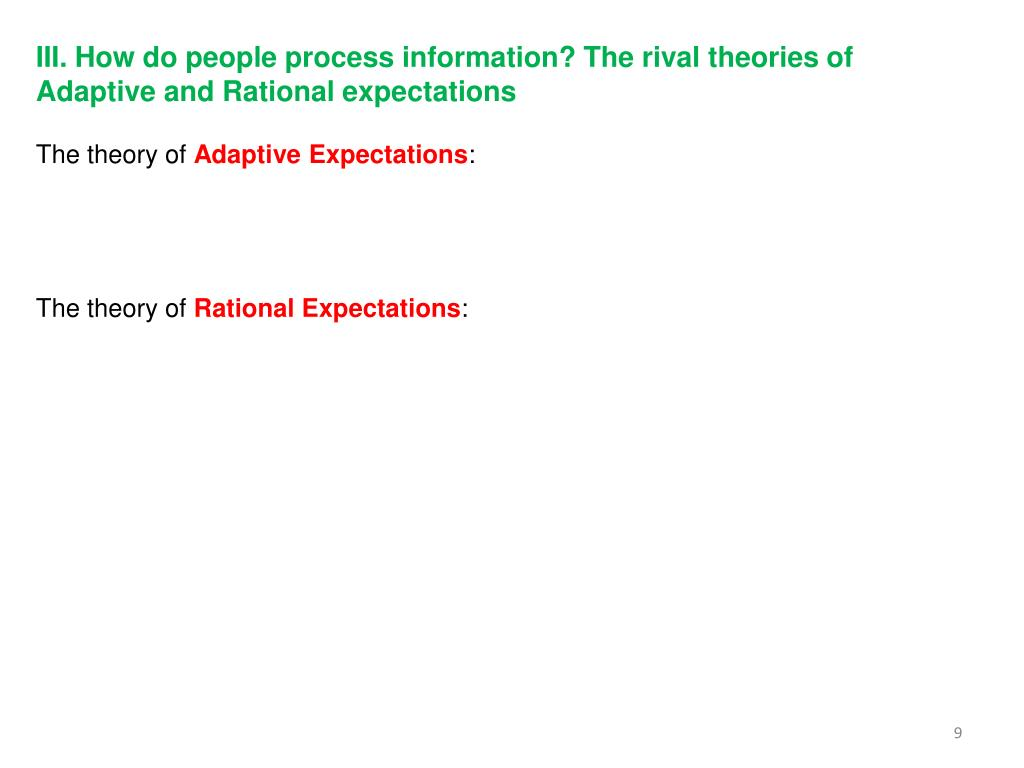 III. How do people process information? The rival theories of Adaptive and Rational expectations
