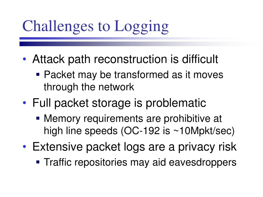 Challenges to Logging