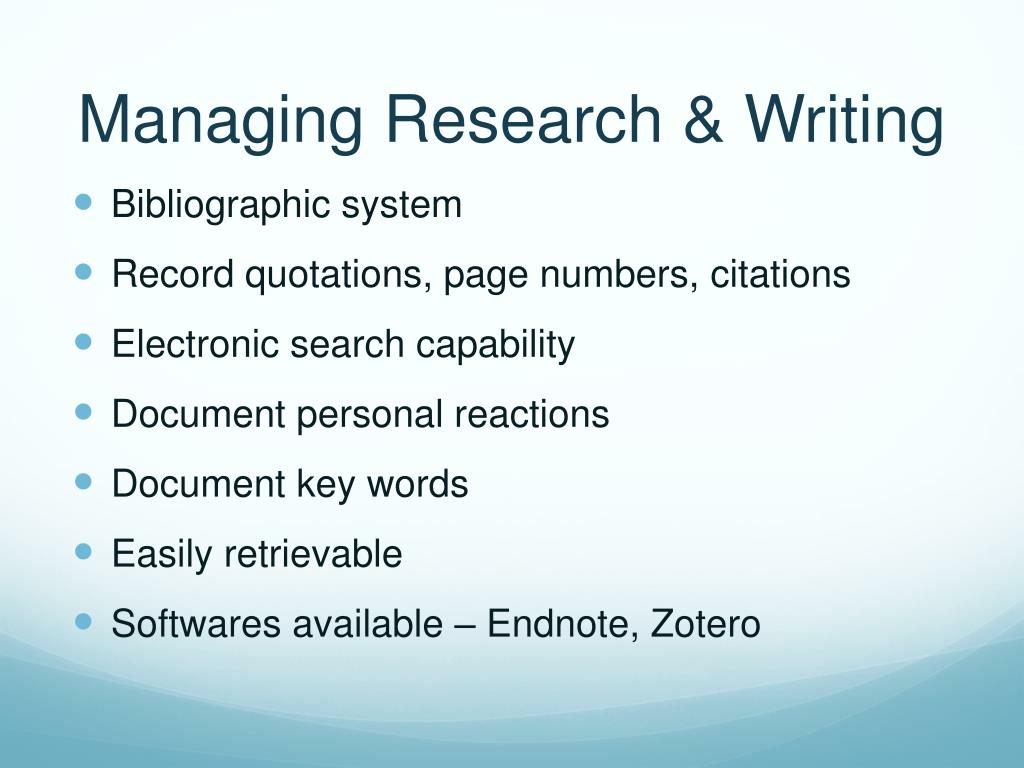 Managing Research & Writing