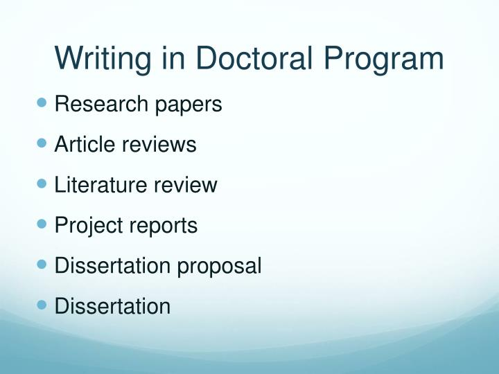 Writing in doctoral program