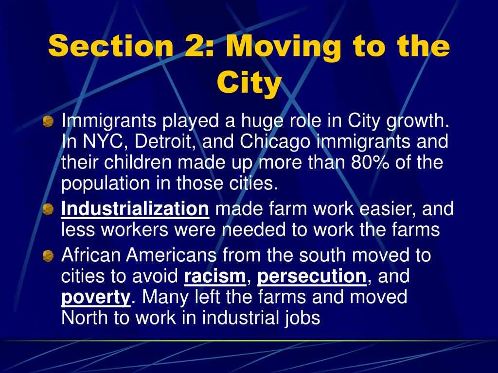 Section 2: Moving to the City