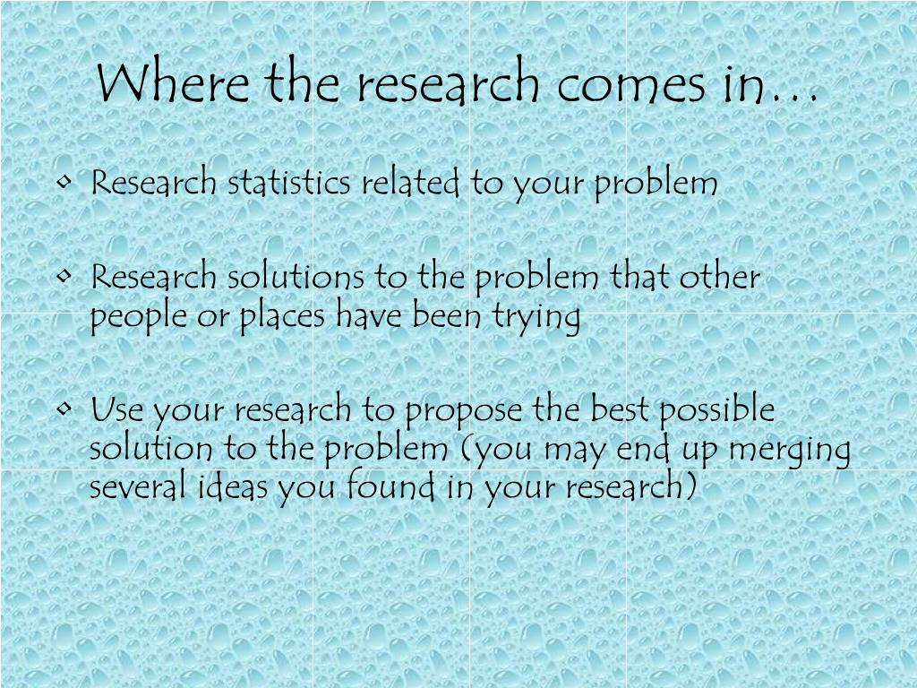 Where the research comes in…
