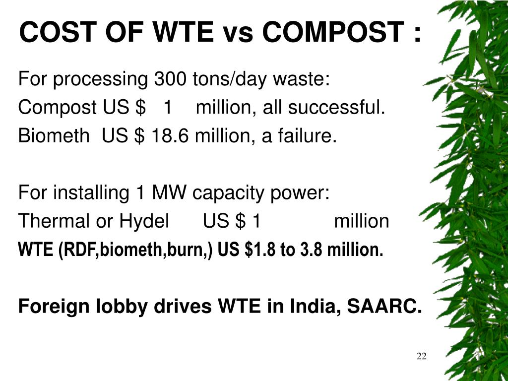 COST OF WTE vs COMPOST :