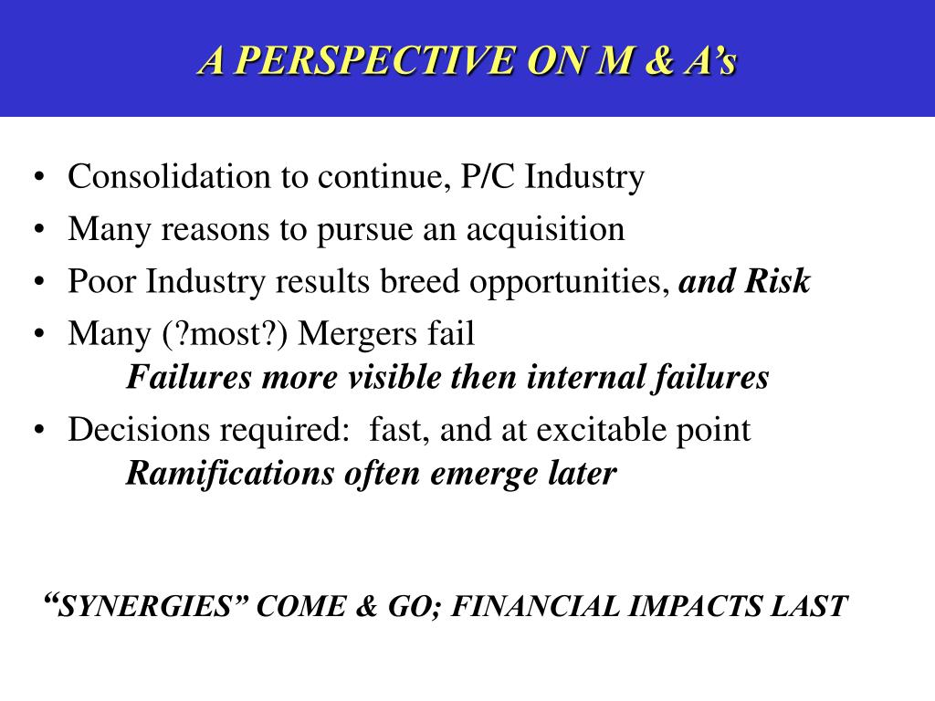 A PERSPECTIVE ON M & A's