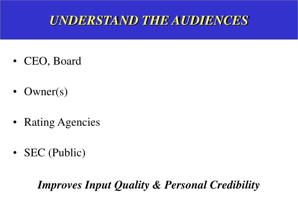UNDERSTAND THE AUDIENCES