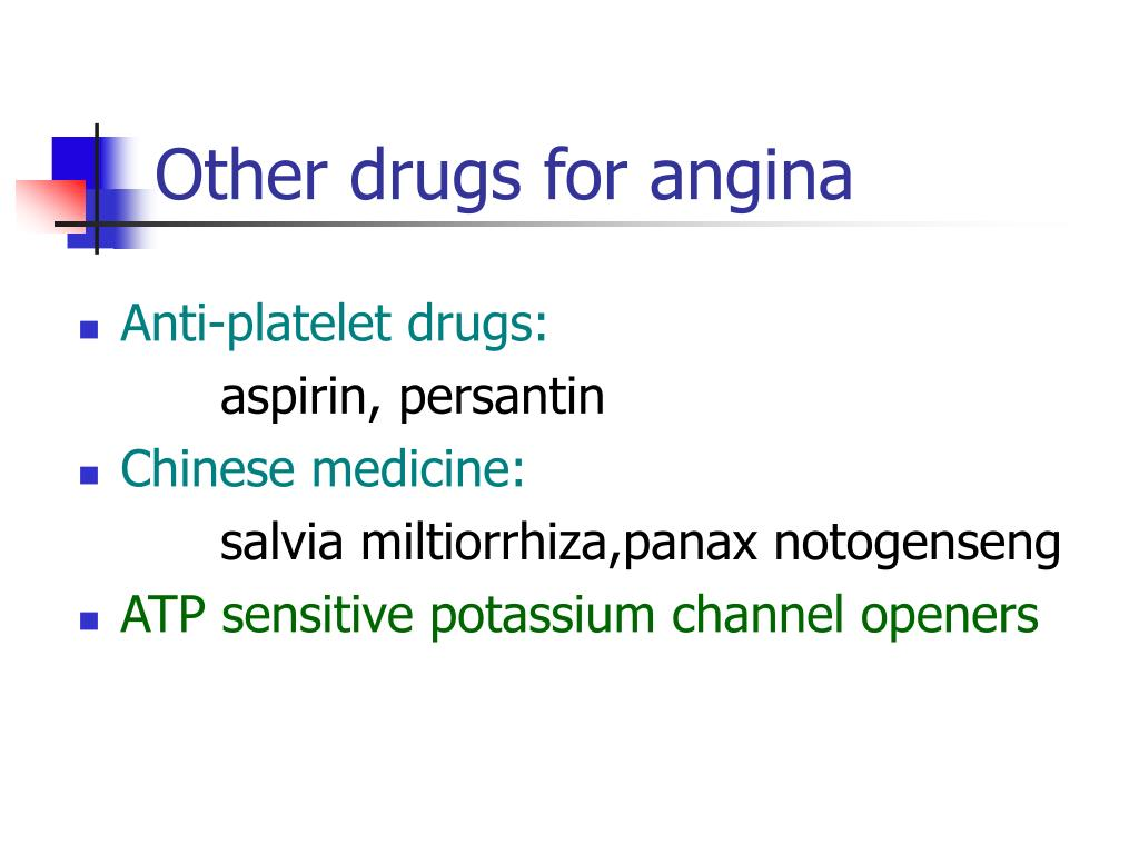 Other drugs for angina