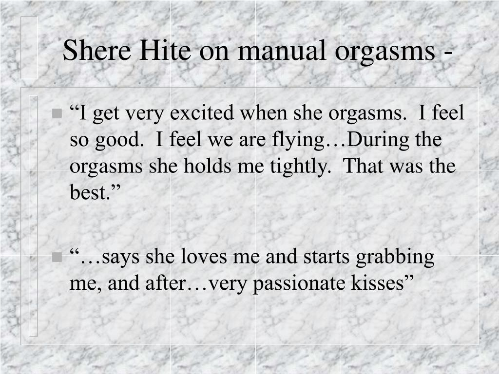 Shere Hite on manual orgasms -