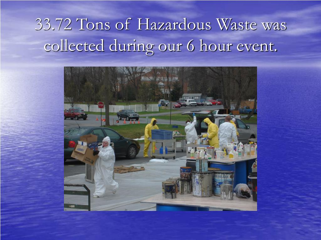 33.72 Tons of Hazardous Waste was collected during our 6 hour event.