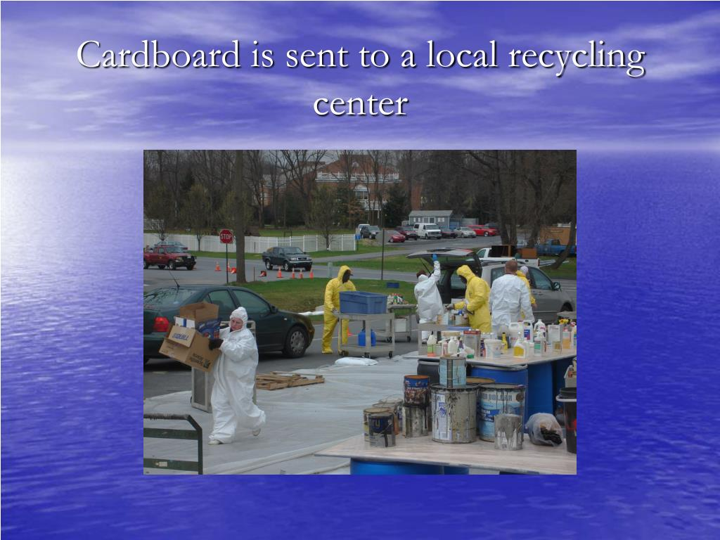 Cardboard is sent to a local recycling center