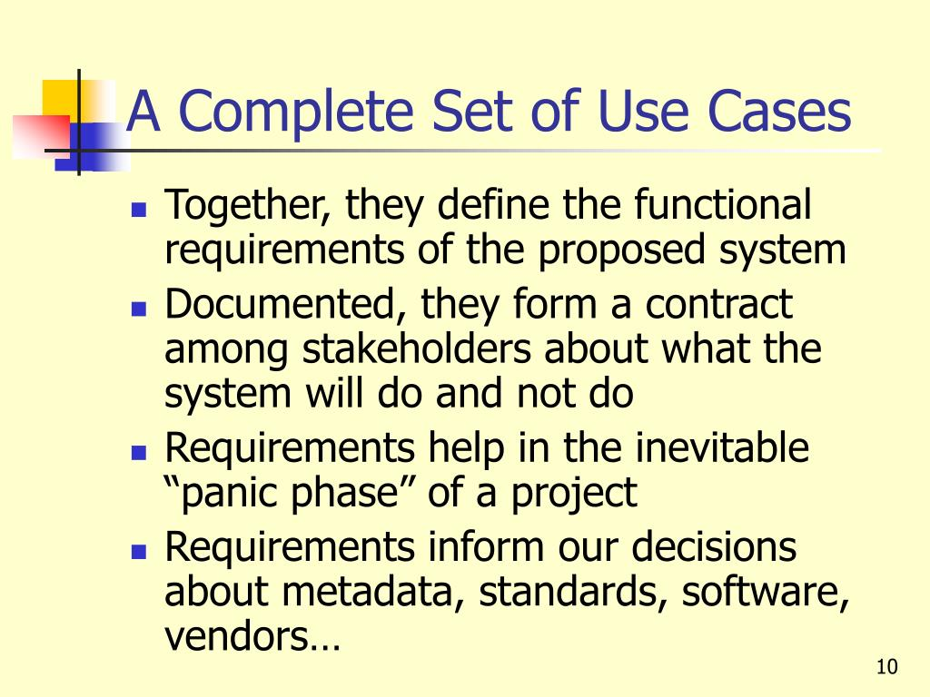 A Complete Set of Use Cases