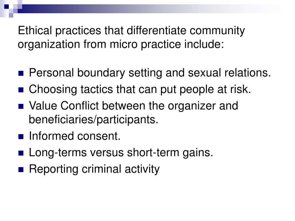 Ethical practices for organizations to be