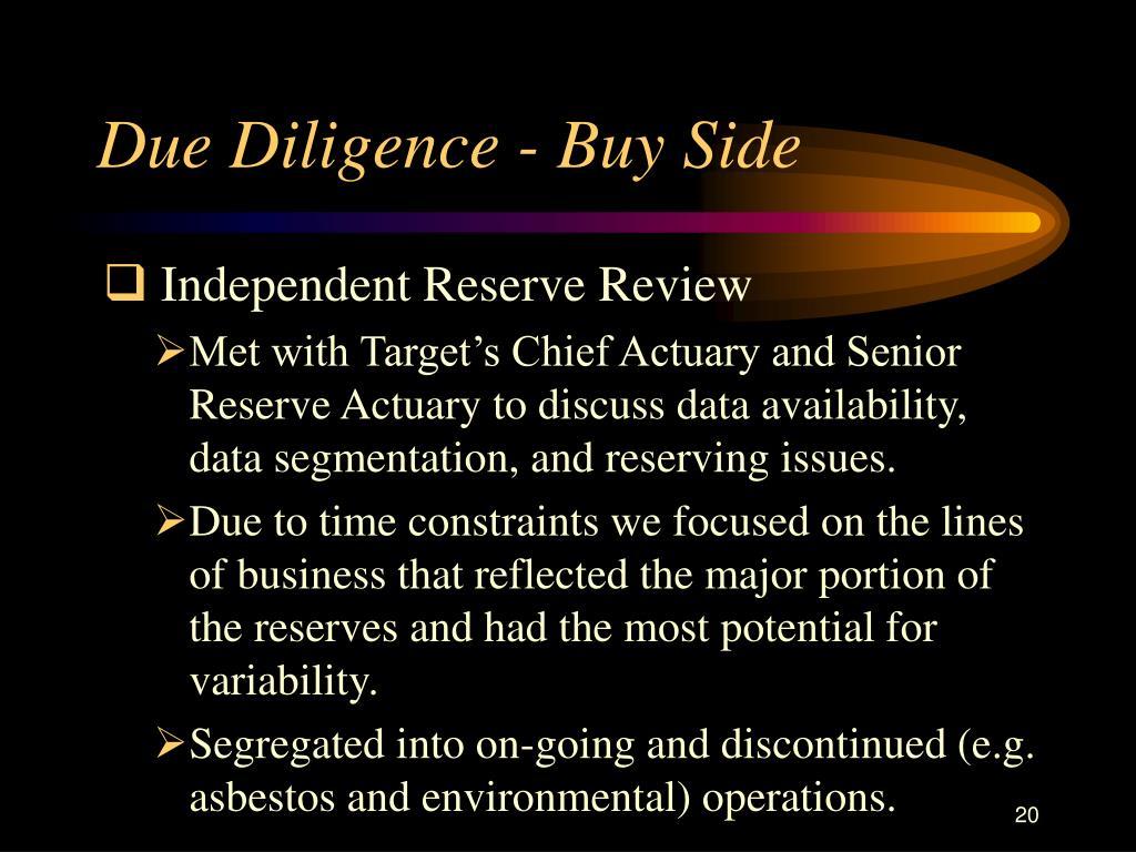 Due Diligence - Buy Side