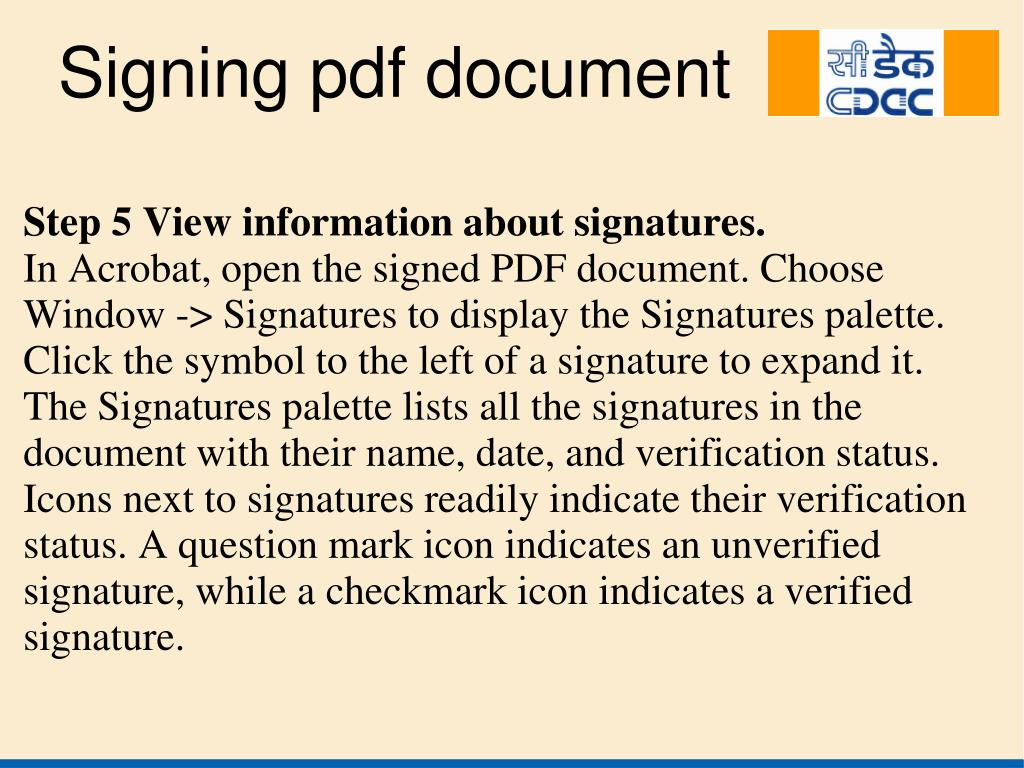 Step 5 View information about signatures.