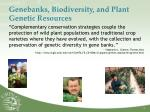 genebanks biodiversity and plant genetic resources