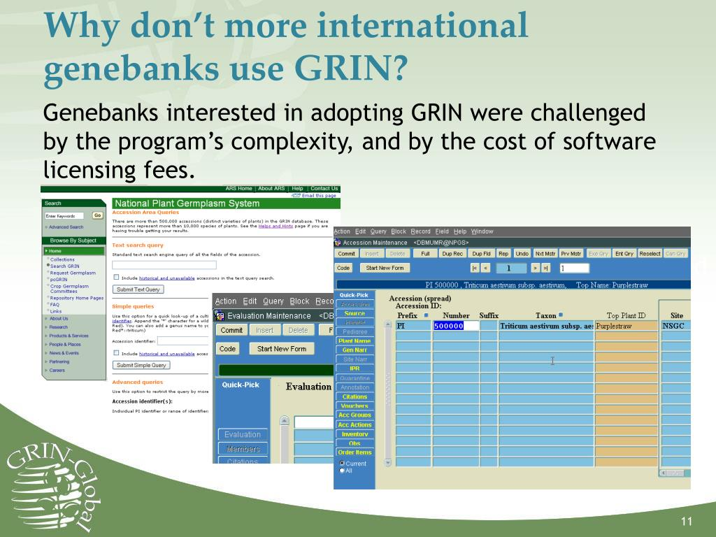 Why don't more international genebanks use GRIN?