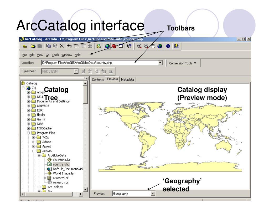 ArcCatalog interface