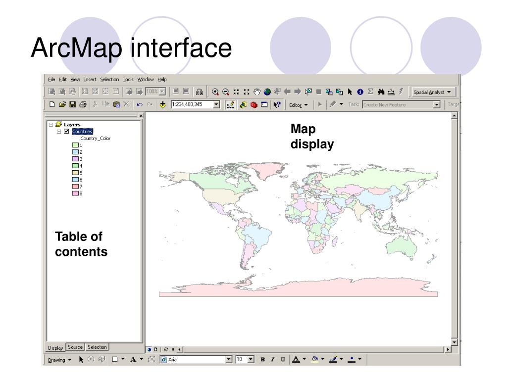 ArcMap interface