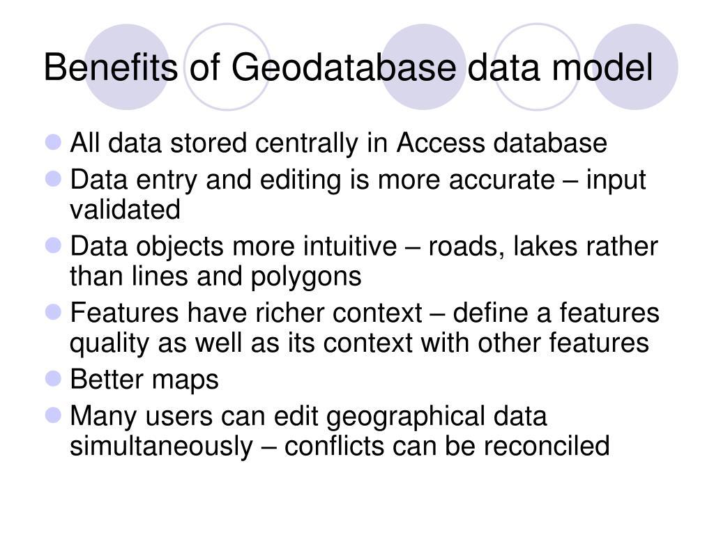 Benefits of Geodatabase data model