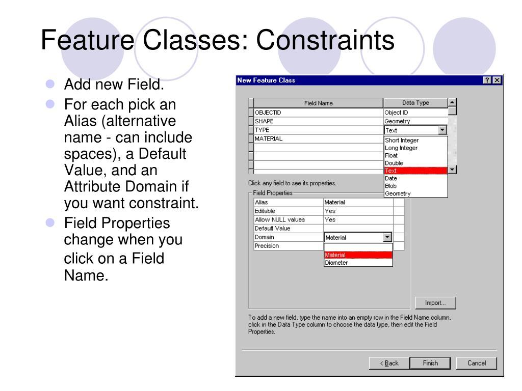 Feature Classes: Constraints