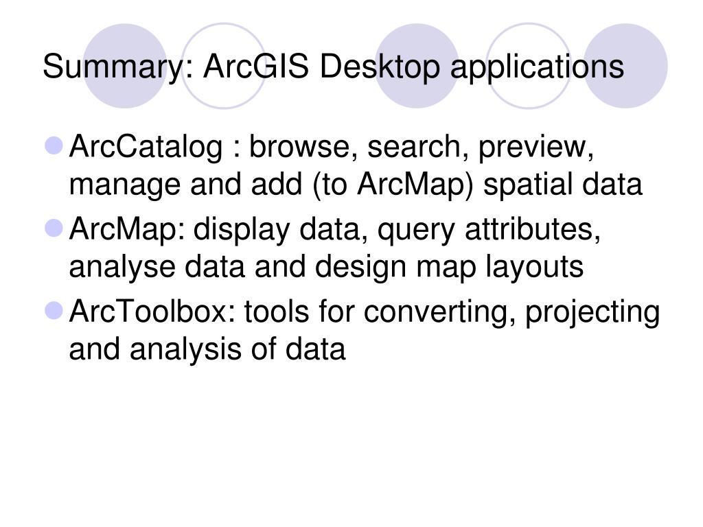 Summary: ArcGIS Desktop applications