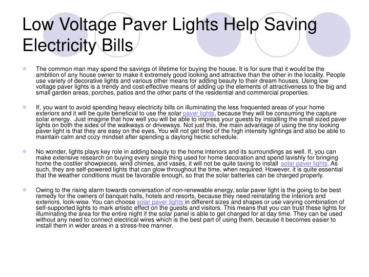Low voltage paver lights help saving electricity bills