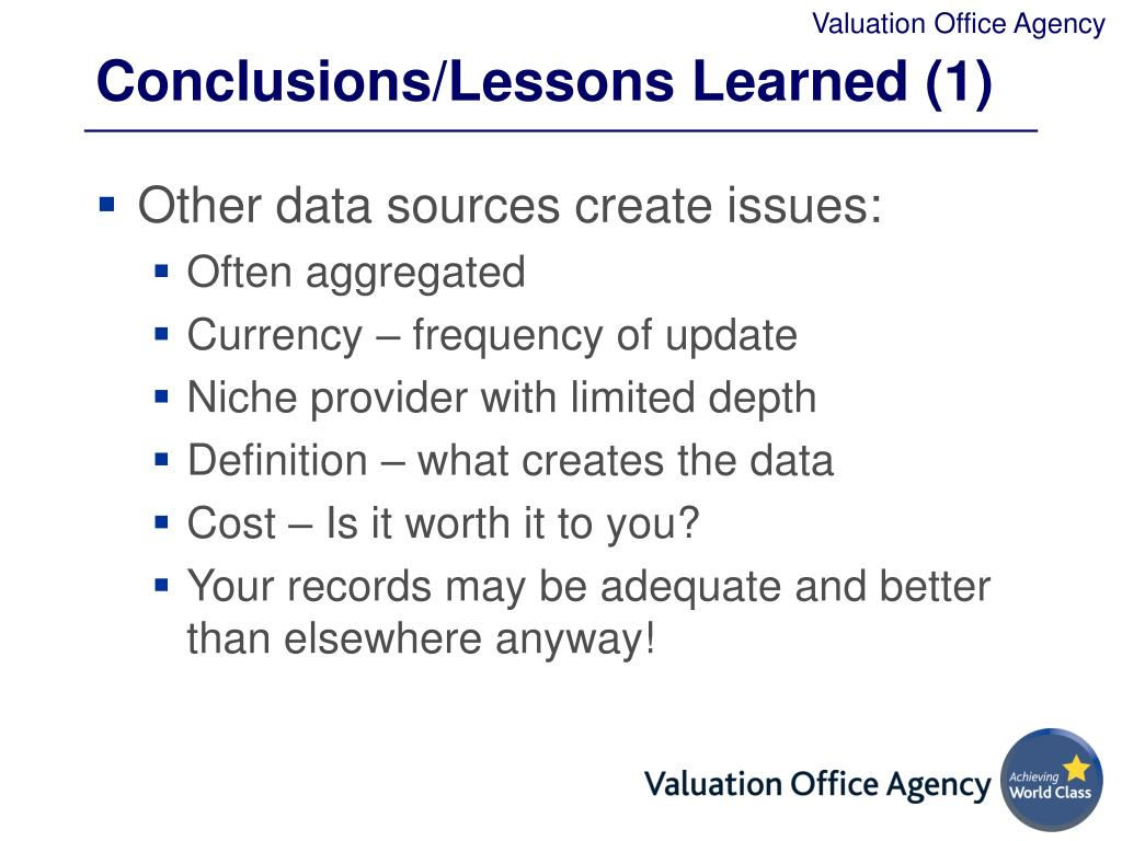 Conclusions/Lessons Learned (1)
