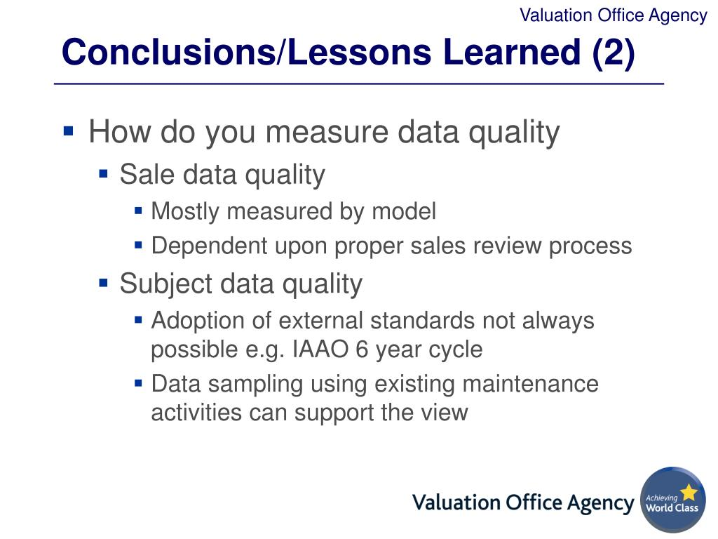 Conclusions/Lessons Learned (2)