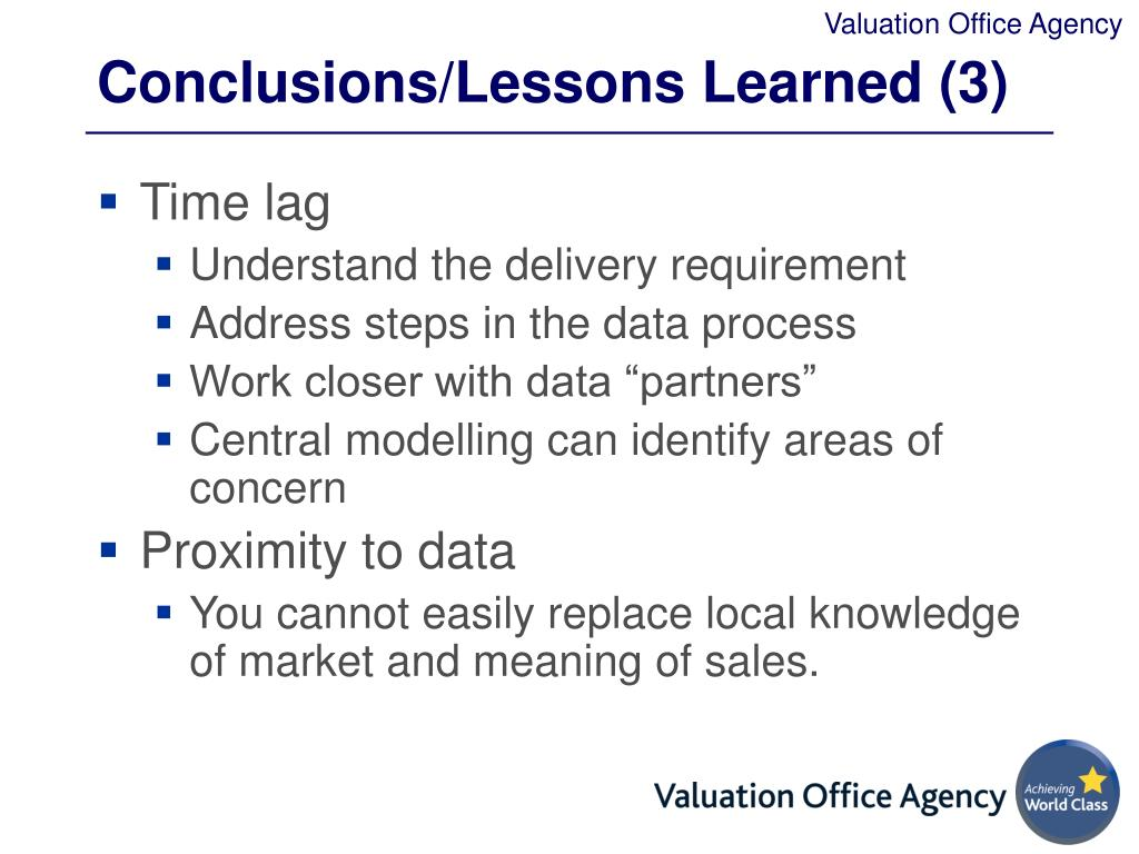 Conclusions/Lessons Learned (3)