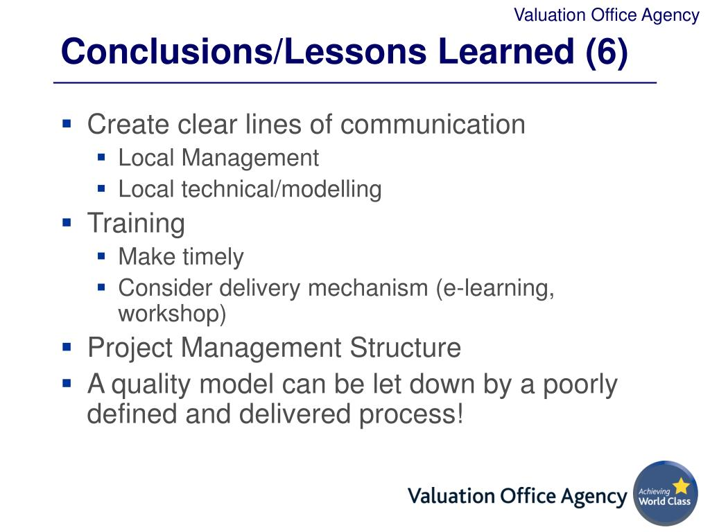 Conclusions/Lessons Learned (6)